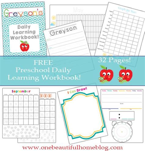 preschool daily learning workbook free printable pin 627 | 406a3f61574c0d4ab670e22dbf17602a