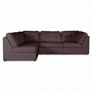 warren 4 piece modular sectional sofa dark brown leather With spencer leather sectional sofa 4 piece