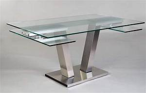Table De Salle A Manger En Verre Avec Rallonge : table verre design table en verre avec rallonge maisonjoffrois ~ Teatrodelosmanantiales.com Idées de Décoration