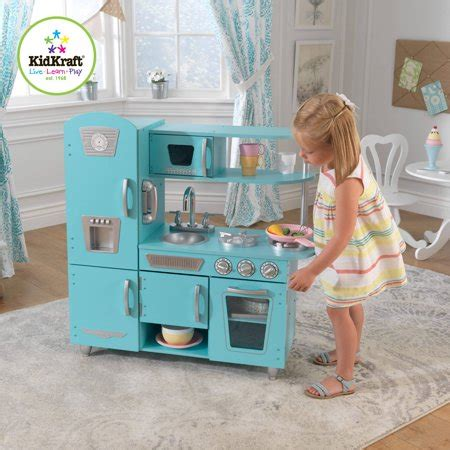 walmart kitchen set for kidkraft vintage wooden play kitchen set blue walmart