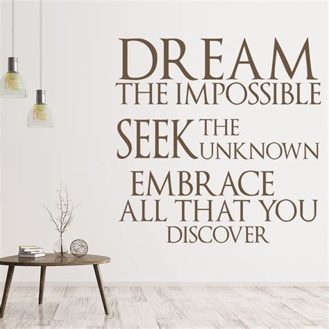 dream  impossible wall sticker quote wall art