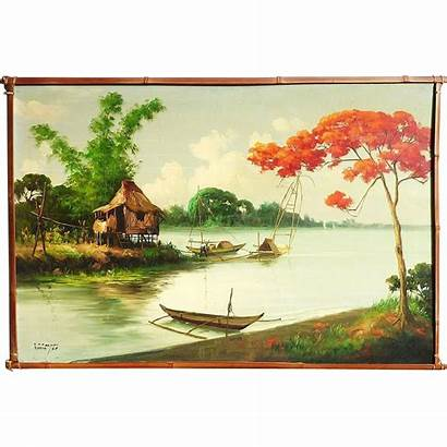 Filipino Landscape Painting Philippine Tropical Signed Paintings