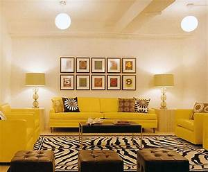 Color (Yellow!), Form (lamps, pendants), Pattern (rug-duh ...
