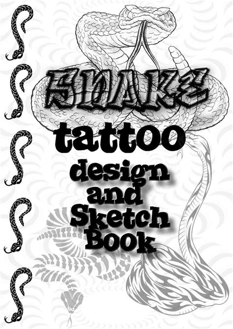 Snake Tattoo Design and Sketch Book. All Black/White Drawings! Great Collection! | eBay