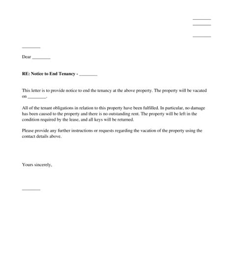 Notice To End Tenancy Template by Termination Of Tenancy Agreement Template Tenants Letter