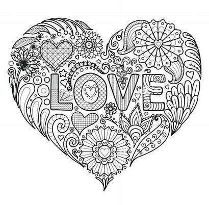 Mandala Coloring Pages Heart Hearts Flowers Flower