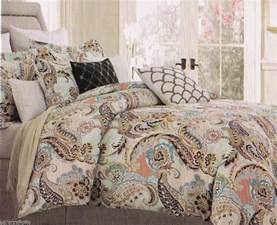 cynthia rowley king paisley aqua lime green blue brown 6 pc comforter set cynthiarowley