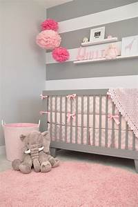 adorable gray pink and white modern chic nursery With chambre bébé design avec tapis massage pour mal dos