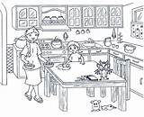 Clipart Table Wipe Kitchen Coloring Pages Colouring Wiping Clipground Cooking Onlycoloringpages sketch template