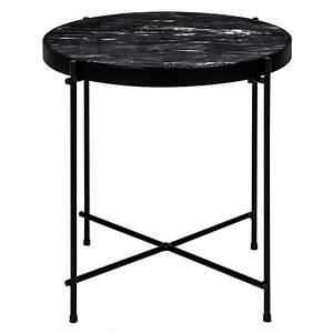 Table Marbre Noir : table ronde 43 cm marbre noir koya design ~ Teatrodelosmanantiales.com Idées de Décoration