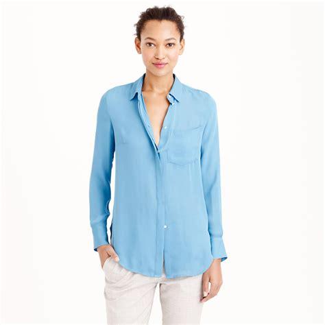 jcrew blouses j crew silk blouse in blue lyst