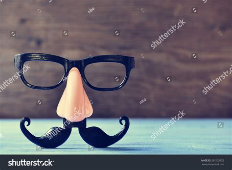 Fake Mustache Nose Eyeglasses On Rustic Stock Photo