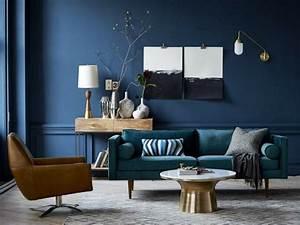 salon bleu petrole bleu canard et bleu paon west elm With sol gris quelle couleur pour les murs 12 salon bleu petrole bleu canard et bleu paon