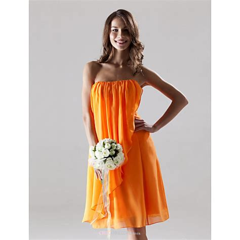 knee length chiffon bridesmaid dress orange  sizes