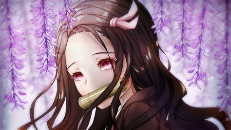 Demon Slayer Long Hair Nezuko Kamado With Backgorund Of
