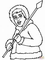 Eskimo Inuit Coloring Spear Pages Drawing Printable Drawings Important 1600px 58kb 1200 Getcolorings Getdrawings sketch template
