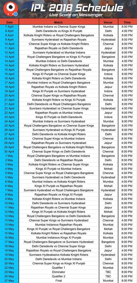 vivo indian premier league 2018 fixtures announced the