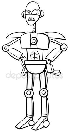 robot character coloring page — Stock Vector © izakowski