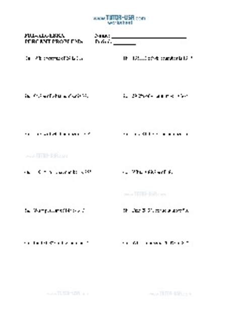Worksheet Percent Problems  Finding Percentages With Equations  Prealgebra Printable