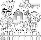 Coloring Farmer Animals Boy Vector Farm Clip Cow Clipart Collection Fence Tree Child Illustrations Drawing Drawings Equipment Fruits Pig Chicken sketch template