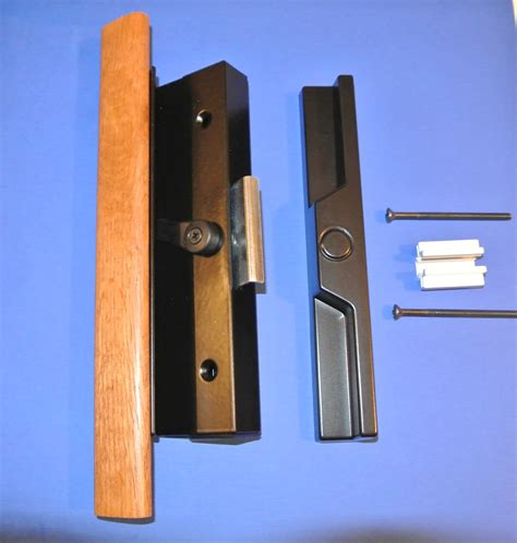 rollyson patio door handle 13 258 black finish with wood