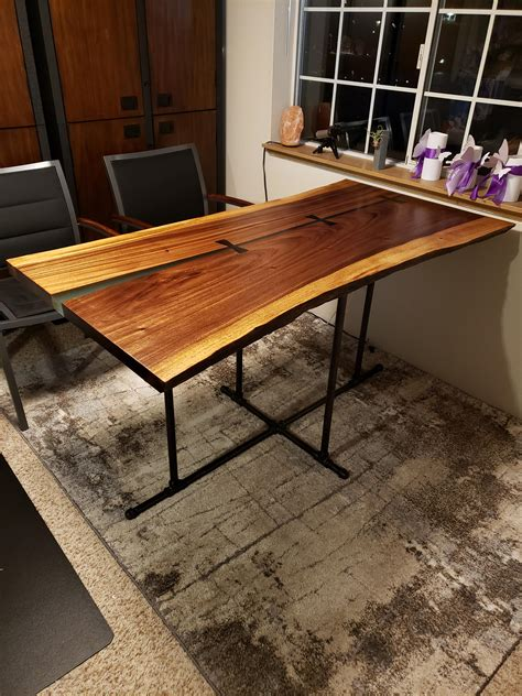 glowing resin  edge walnut table  hand carved