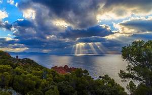 Nature, Landscape, Sky, Clouds, Sun, Rays, Trees, Shrubs, Sea, Rock, Mountain, Water, Wallpapers