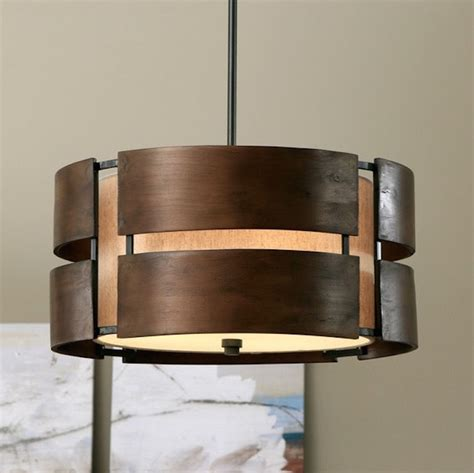 chandelier 3 light rustic walnut wood pendant modern