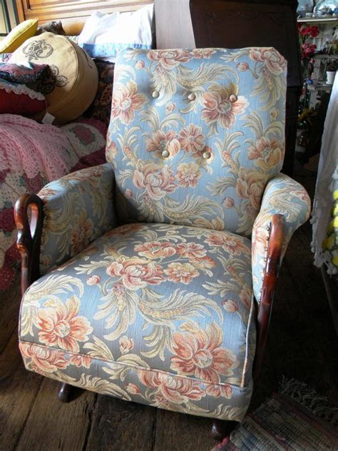 antique rocking chair  swan arms newly refurbished  reupholstered   ship www