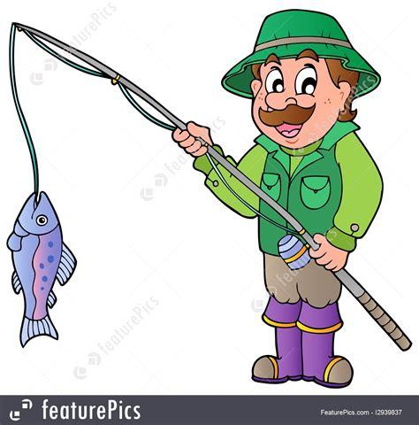 outdoor activity cartoon fisherman  rod  fish