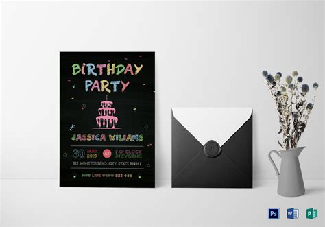 Chalkboard Birthday Party Invitation Design Template in