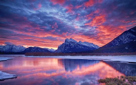 winter snow lake sky clouds sunset glow mountain