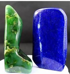 Royal Blue Lapis Lazuli : pair of fine green nephrite and royal blue lapis lazuli polished tumbles 121 and 116mm 840gm ~ Markanthonyermac.com Haus und Dekorationen