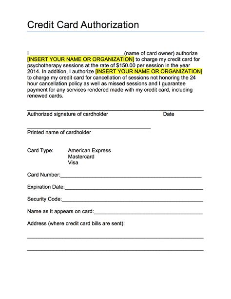 Credit Card Authorization Form Template Authorization Form Template Exle Mughals
