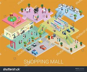 Flat 3d Isometric Shopping Mall Concept Stock Vector