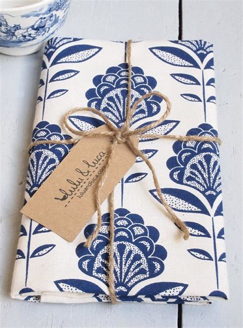 Kitchen Tea Gift Wrapping Ideas by Tea Towel Screen Printed With Peacock Flower Pattern