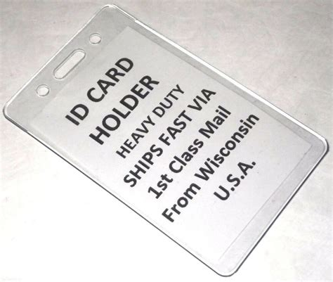 vertical id card heavy duty clear plastic badge holder