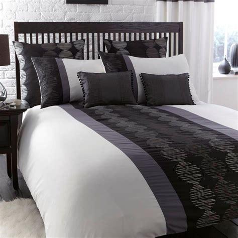 And Black Duvet Set by Orbit Black White Grey Modern Embroidered Single Duvet