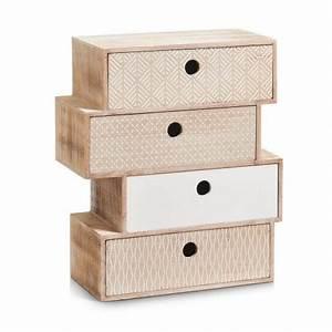 Petit Meuble à Tiroirs : petit meuble en bois deco vintage bloc de 4 tiroirs zeller nordic 15112 ~ Teatrodelosmanantiales.com Idées de Décoration