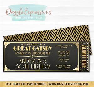 Printable The Great Gatsby Chalkboard Ticket Birthday
