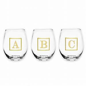 monogram letter stemless wine glass in gold bed bath With gold letter glass