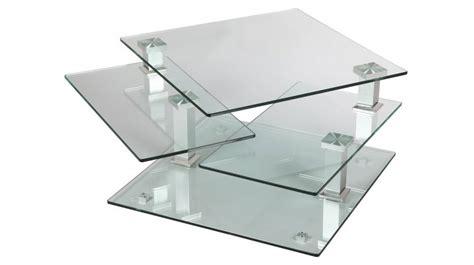 canapé convertible design 2 places table basse carrée en verre 3 plateaux articulés table