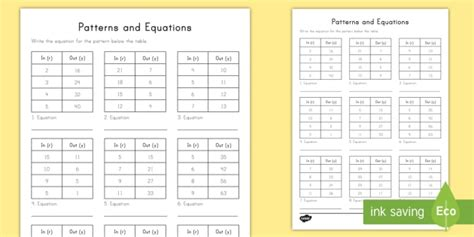 Patterns And Equations Input Output Tables Worksheet