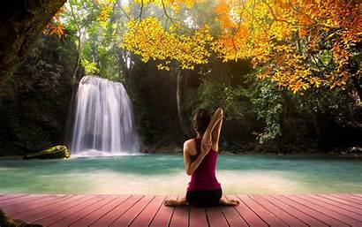 Yoga Background Waterfall Autumn Resolution Wallpapers