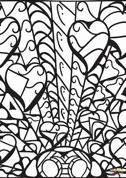 Coloring Abstract Patterns Heart Pages Printable Hearts