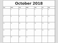 October 2018 Calendar Printable Monthly Free Printable