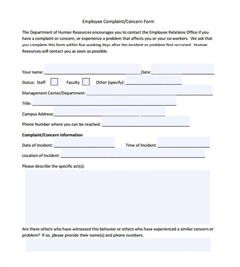 sample employee form templates