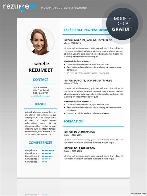 Model De Cv Word 2015 by Curriculum Vitae Mod 232 Le 2015 Exemple Cv Francais Gratuit