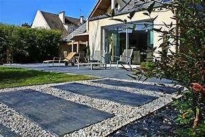 jardin d39excellence contemporain terrasse en bois With amenagement d une terrasse exterieure 11 avant apras une maison julien rhinn