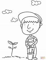 Coloring Tree Planting Pages Earth Printable Drawing Trees Getdrawings sketch template